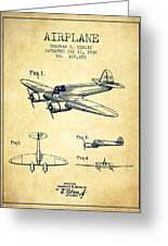 Airplane Patent Drawing From 1938-vintage Greeting Card