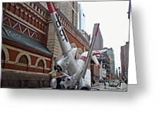 Airplane Sculpture In Philadelphia Pa - Navy S2f Greeting Card