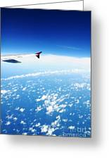 Airplane Wing Against Blue Sky Horizon Greeting Card