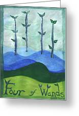 Airy Four Of Wands Greeting Card