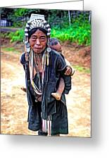 Akha Tribe Paint Filter Greeting Card