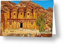 Al-dayr Or The Monastery In Petra-jordan  Greeting Card