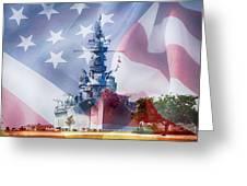 Battleship Alabama And Flag Greeting Card