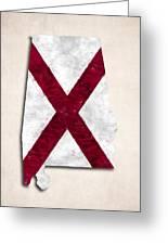 Alabama Map Art With Flag Design Greeting Card