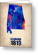 Alabama Watercolor Map Greeting Card by Naxart Studio