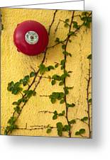Alarm Bell And Vines Yellow Wall Greeting Card