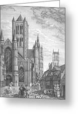 Alarming Morning In Ghent. The Left Part Of The Triptych - The Age Of Cathedrals Greeting Card