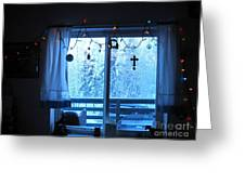 Alaska Christmas Window Decorations And Lights Viewing Sunlit Illuminated Snowy Forest Trees Greeting Card