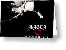 Alaska Loves Baseball Greeting Card