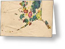 Alaska Map Vintage Watercolor Greeting Card by Florian Rodarte