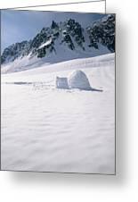 Alaska Range And Glacier With Igloo Greeting Card