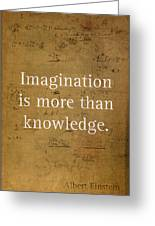 Albert Einstein Quote Imagination Science Math Inspirational Words On Worn Canvas With Formula Greeting Card