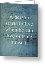 Albert Einstein Quote Person Starts To Live Science Math Formula On Canvas Greeting Card