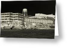 Alcatraz The Rock Sepia 1 Greeting Card