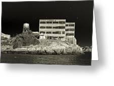 Alcatraz The Rock Sepia 2 Greeting Card