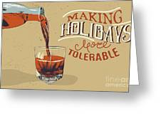 Alcoholic Drink Is Poured From Bottle Greeting Card