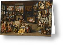 Alexander The Great Visiting The Studio Of Apelles Greeting Card