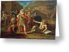 Alexander The Great Visits Diogenes At Corinth, 1787 Oil On Canvas Greeting Card