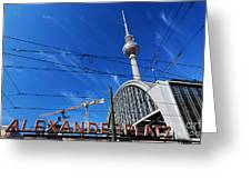 Alexanderplatz Sign And Television Tower Berlin Germany Greeting Card