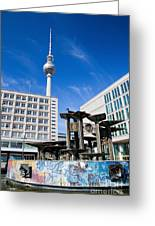 Alexanderplatz View On Television Tower Berlin Germany Greeting Card