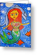 Alexandra's Mermaid Swims With The Dolphins Greeting Card