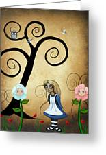 Alice In Wonderland Art - Alice And Flowers Greeting Card