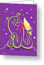 Alien Ice Cream -vector Version Greeting Card