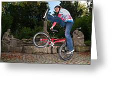 Alive And Kicking - Bmx Flatland Power Girl Greeting Card