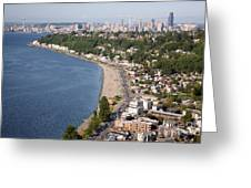 Alki Beach And Downtown Seattle Greeting Card