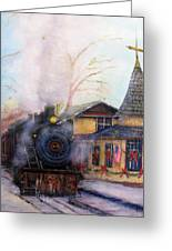 All Aboard At The New Hope Train Station Greeting Card