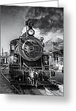All Aboard Bw Greeting Card