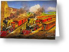 All Aboard The Lightning Express 1874 Greeting Card