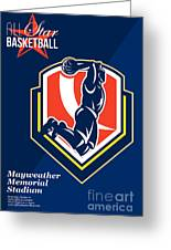 All American Basketball Retro Poster Greeting Card