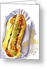 All Beef Ballpark Hot Dog With The Works To Go In Broad Daylight Greeting Card by Kip DeVore