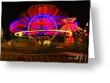 All The Rides Moving At Once Greeting Card