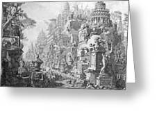 Allegorical Frontispiece Of Rome And Its History From Le Antichita Romane  Greeting Card