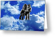 Allen And Steve In Clouds Greeting Card