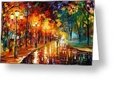 Alley Of The Memories - Palette Knife Oil Painting On Canvas By Leonid Afremov Greeting Card