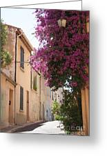 Alley With Bougainvillea - Provence Greeting Card