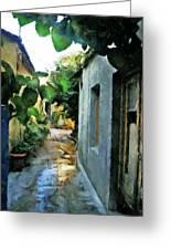 Alleyway In Rhodes Greece Greeting Card