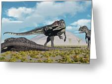 Allosaurus Dinosaurs Approaching Greeting Card