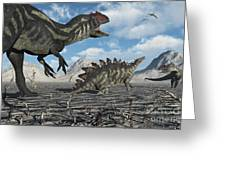 Allosaurus Dinosaurs Moving In To Kill Greeting Card