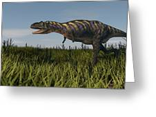 Alluring Aucasaurus In Grassland Greeting Card