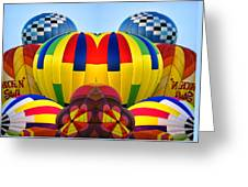 Almost Inflated Hot Air Balloons Mirror Image Greeting Card