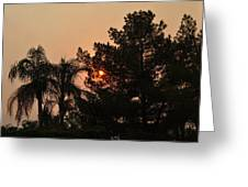 Almosts Gone Now Sunset In Smoky Sky Greeting Card