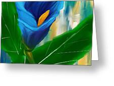 Alone In Blue- Calla Lily Paintings Greeting Card