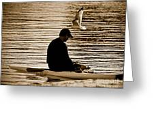 Alone In His Thoughts But Not Alone Greeting Card by Carol F Austin