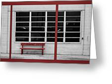 Alone - Red Bench - Windows Greeting Card