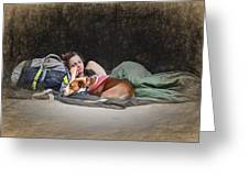 Alone With Her Dog Greeting Card