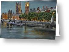 Along The Thames At Night Greeting Card